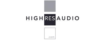 HighResAudio logo i sort, hvid og grå