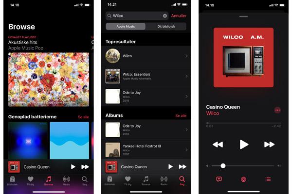 Billede af Apple Music appen på en iPhone